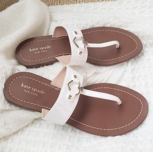 Kate Spade White Chase Thong Flat Sandals
